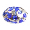 Glass Lamp Bead Oval 11x8mm Crystal/Sapphire